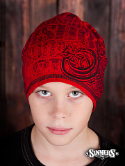 "Winter Childrens red Hat ""SINNER's BONES"""