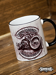 "Ceramic Mug ""ROCK HARD RIDE FREE"""