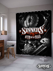 "Shower Curtain ""BURN on the ROAD"""